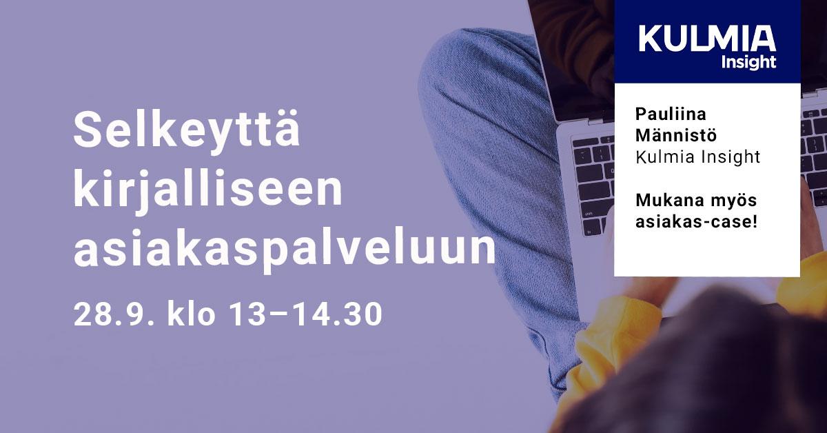 Selkeyttä kirjalliseen asiakaspalveluun -webinaari 28.9. klo 13–14.30
